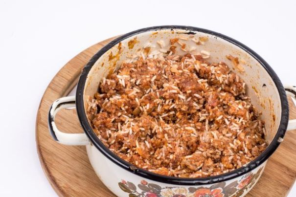Hackpfanne mit Reis