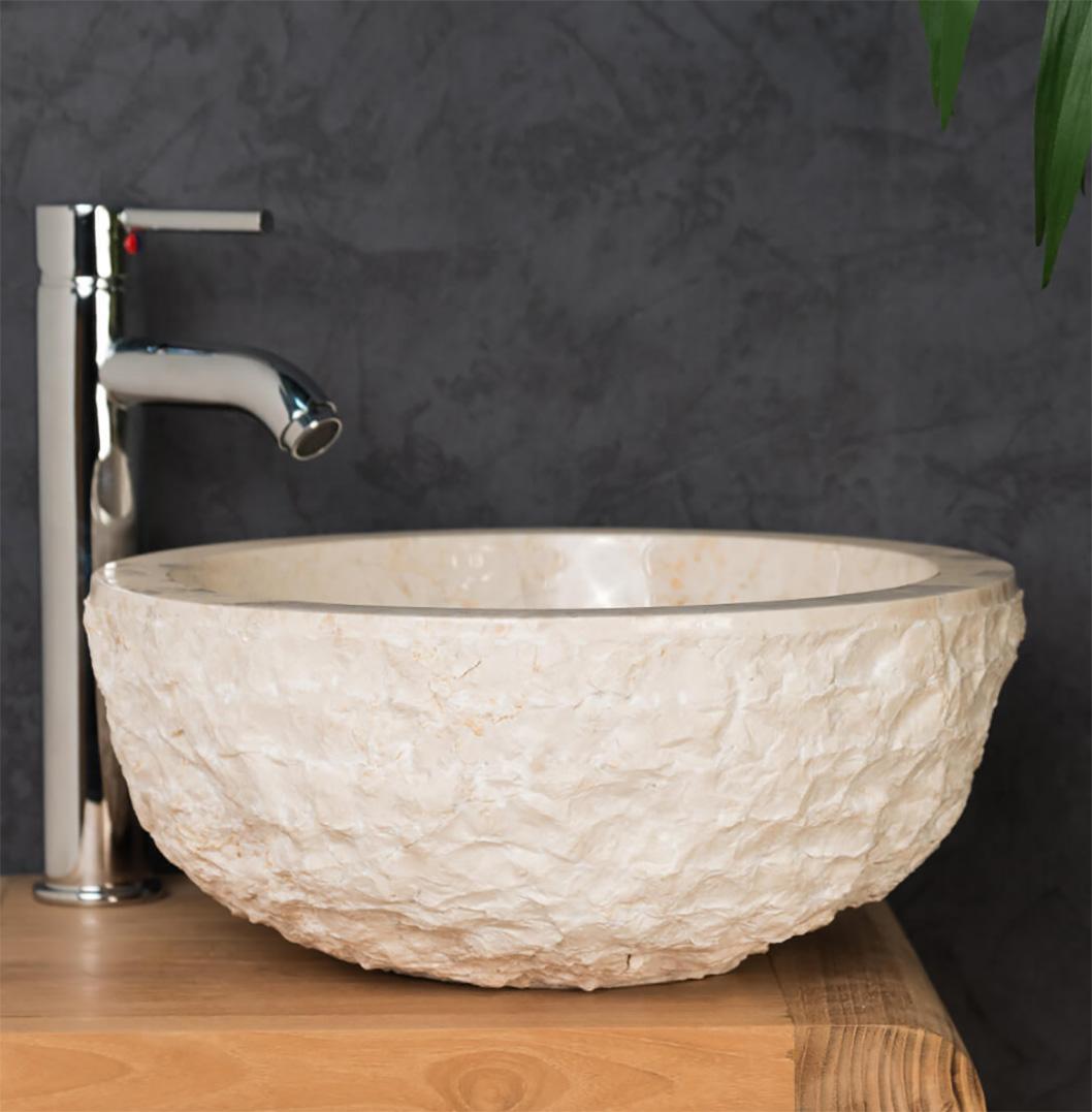 cream stone sink rough round marble basin 40 x 15cm