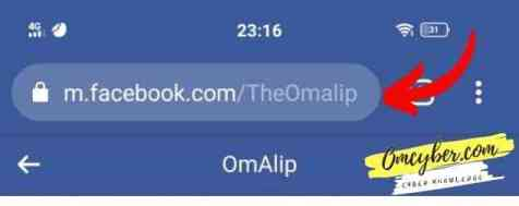 link profile facebook pada kotak alamat browser