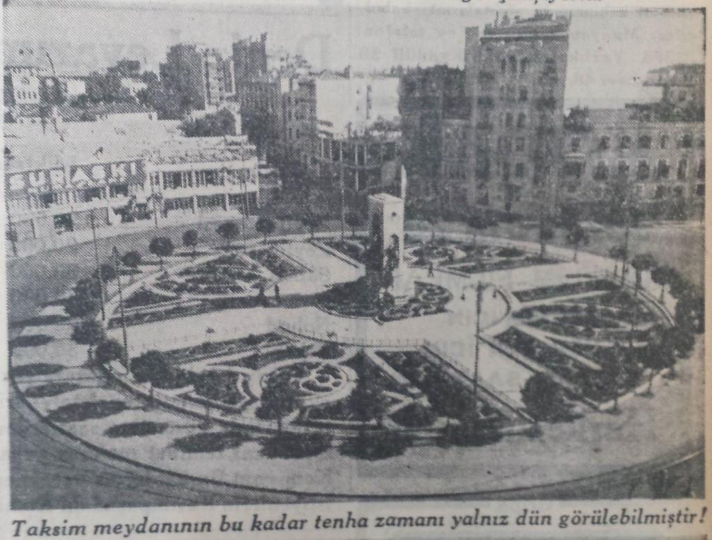 1935 Nüfus sayımında Taksim meydanı