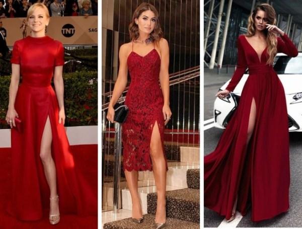 Três opções de vestidos lindos vermelho.