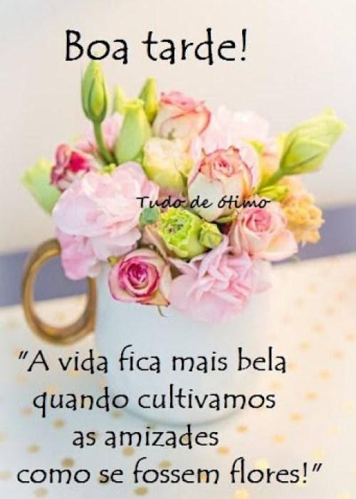 boa tarde com xicara de flores