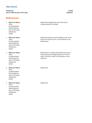 Reference List On Resume. resume reference page template and get ...
