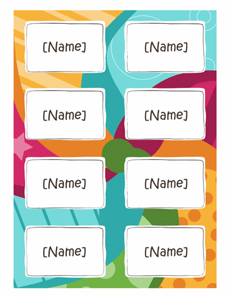 Name Badges Bright Design 8 Per Page Works With Avery