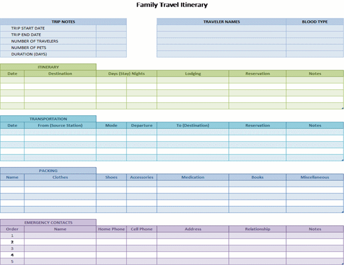 Family Travel Itinerary Office Templates Themes Office 365