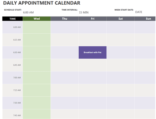Daily Appointment Calendar Week View