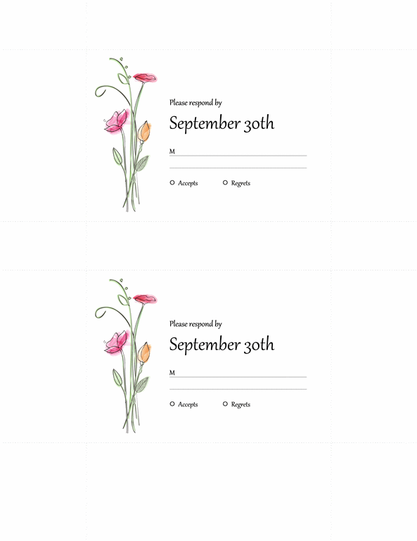 Wedding Rsvp Cards 2 Per Page