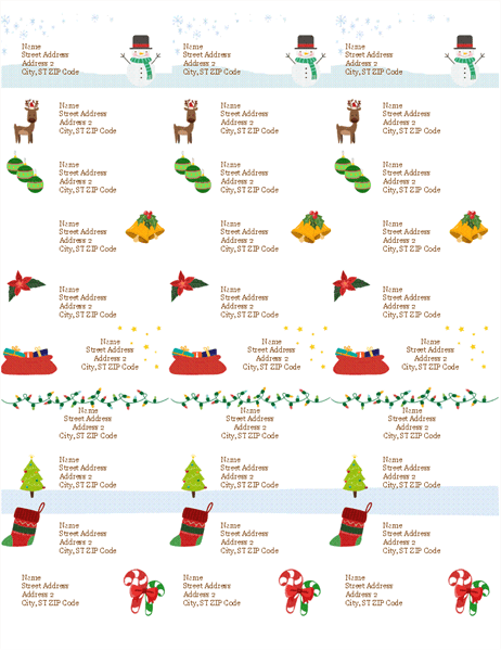 Gift Tag Labels Christmas Spirit Design 30 Per Page Works