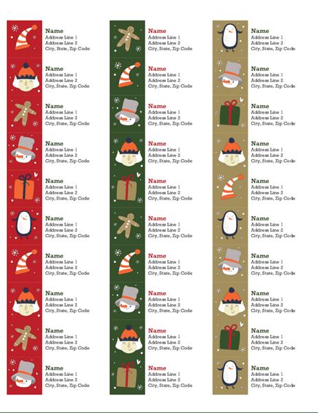 Address Labels Christmas Spirit Design 30 Per Page Works