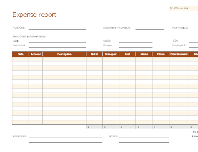 Expense Report Office Templates Themes Office 365