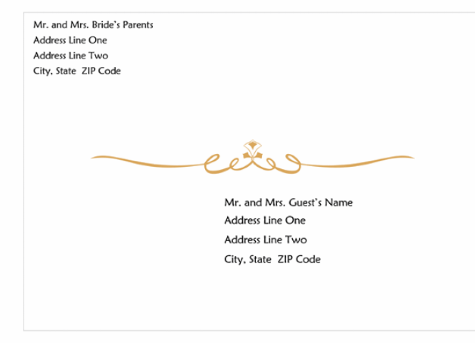 Wedding Invitation Envelope Heart Scroll Design A7 Size