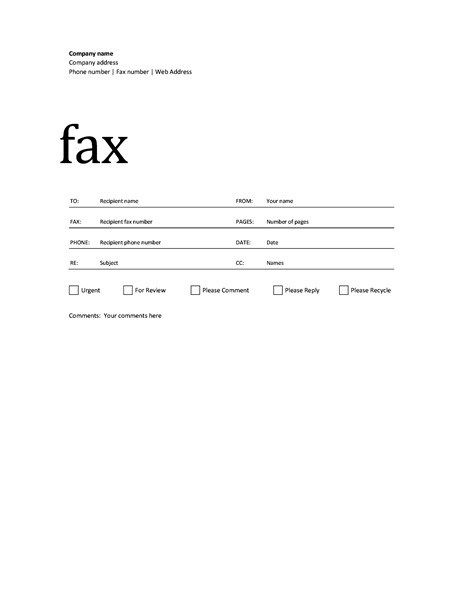 Fax Cover Sheet Academic Design