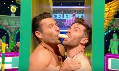 Care to see? Two straight men shirtless and sharing a banana