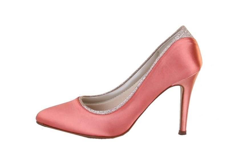 Salmon Pink Court Shoes for Brides by Rainbow Club