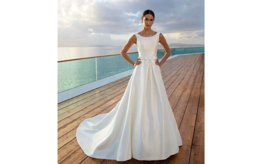 Simple Wedding Gown with Full Skirt by Demtrios