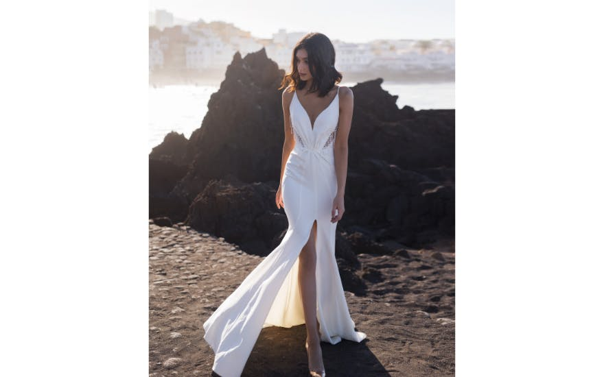 Cut Out Thigh Split Wedding Dress by Rara Avis