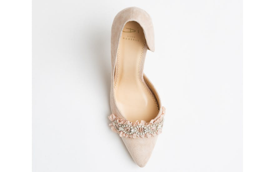 Dusty Pink Suede Wedding Shoes by Diane Hassall