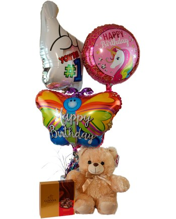 Package (Large Bear, Small Godiva Chocolates, 3 Balloons)