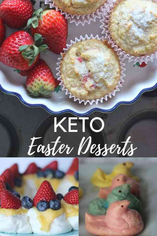 A collection of Keto Easter Desserts including Strawberry muffins, keto Pavlova and Sugar Free Peeps