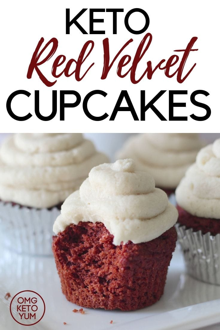 Low carb Red Velvet cupcakes with Dairy free cream cheese frosting.