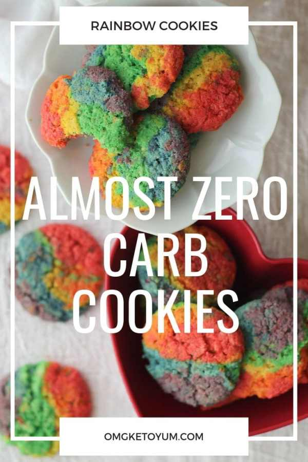 Almost Zero Carb Cookies that are not only colorful but only .1 carbs per cookie! Soft and keto and colorful!