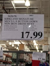 Kirkland No Iron Shirt Sign