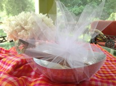 bridal shower gift wrapped in tulle
