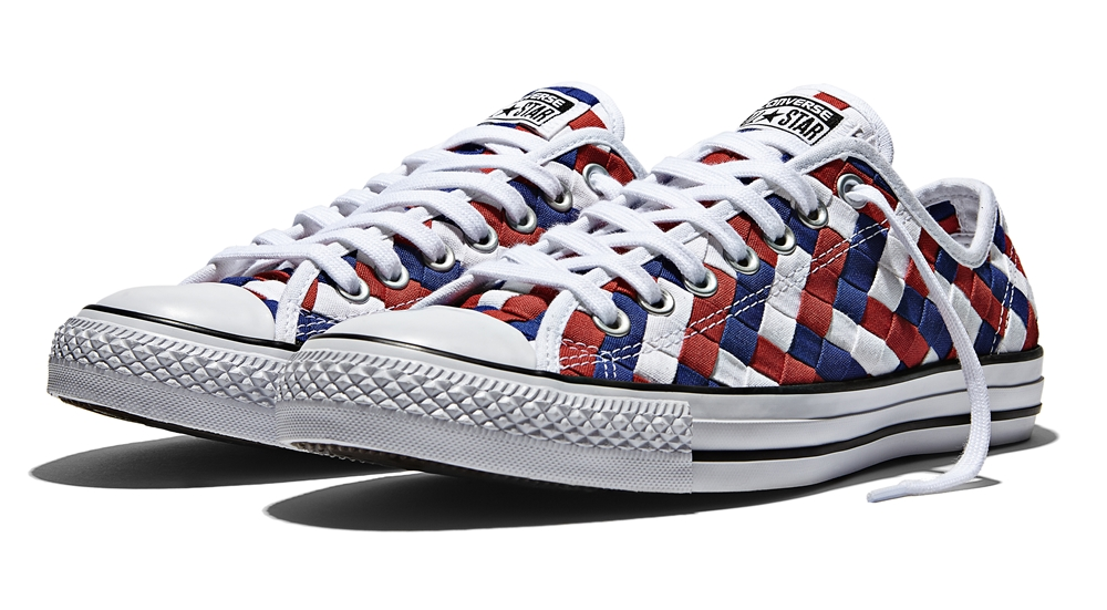 Name CHUCK TAYLOR ALL STAR WOVEN OX Color WHITE CLEMATIS BLUE RED Price 3990