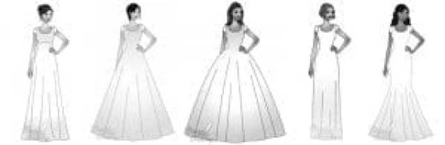 Od leve proti desni: Padajoča obleka, Stolpičasta obleka, plesna obleka, a-oblika, morska deklica