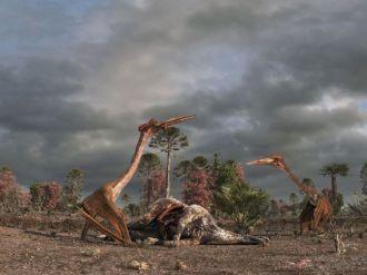Dua ekor Quetzalcoatlus sedang membantai dinosaurus