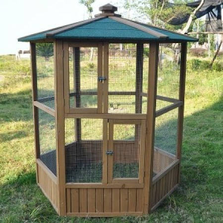 wooden-aviary-hexagonal-flight-house-cage-ideal-for-birds-chipmunks-cats-new