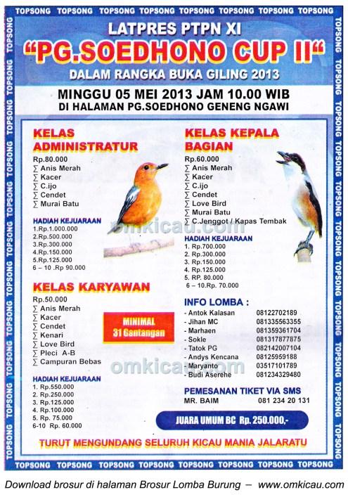 Brosur Latpres PG Soedhono Cup II - Ngawi 0 5 Mei 2013
