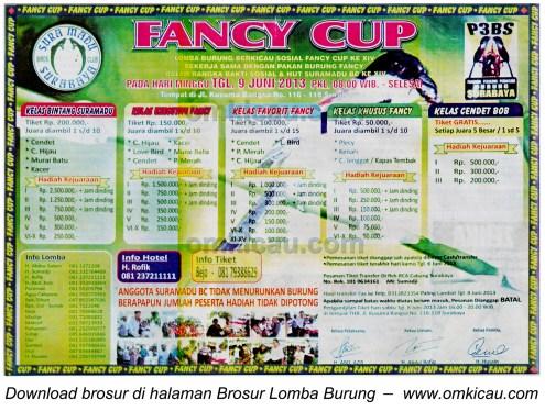 Brosur Lomba Burung Fancy Cup, Surabaya, 9 Juni 2013