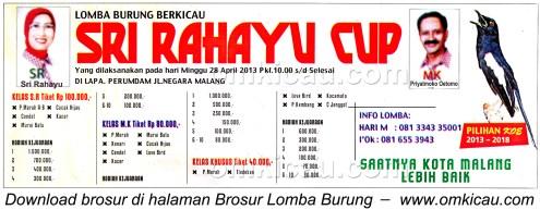 Brosur Lomba Burung Sri Rahayu Cup