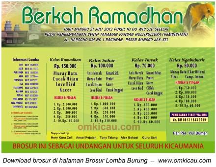 Brosur Lomba Burung Berkah Ramadhan - Jakarta Selatan - 21 Juli 2013