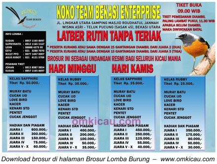 Brosur Latber Koko Team Bekasi - Minggu dan Kamis