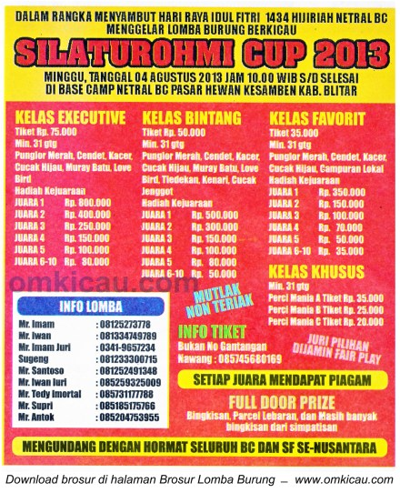 Brosur Lomba Burung Silaturohmi Cup Blitar 4 Agustus 2013