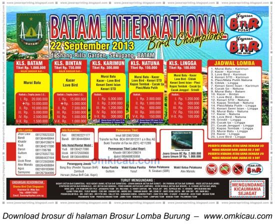 Brosur Batam International Bird Champion, Batam, 22 Sept 2013