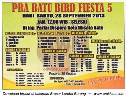 Brosur Lomba Burung Pra Batu Bird Fiesta 5, Batu, 28 Sept 2013