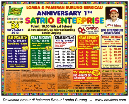 Brosur Lomba Burung Berkicau 1st Anniversary Satrio Enterprise, Bandar Lampung, 24 November 2013