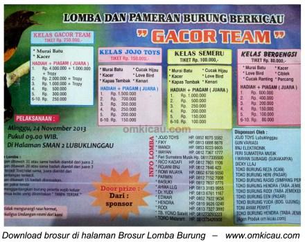 Brosur Lomba Burung Berkicau Gacor Team, Lubuklinggau, 24 November 2013