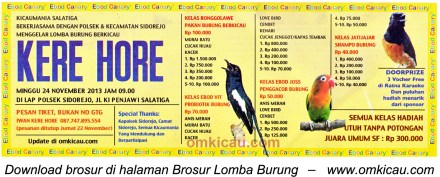 Brosur Lomba Burung Berkicau Kere Hore, Salatiga, 24 November 2013