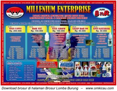 Brosur Lomba Burung Millenium Enterprise, Tangerang Selatan, 29 Desember 2013