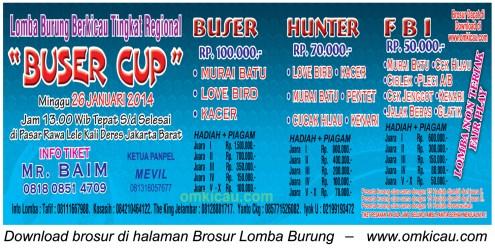 Brosur Lomba Burung Berkicau Buser Cup, Jakarta Barat, 26 Januari 2014