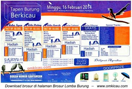 Brosur Lomba Burung Tapen Berkicau, Pandeglang, 16 Februari 2014