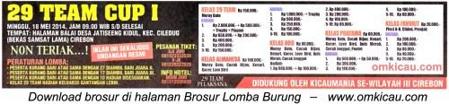 Brosur Lomba Burung Berkicau 29 Team Cup I, Cirebon, 18 Mei 2014