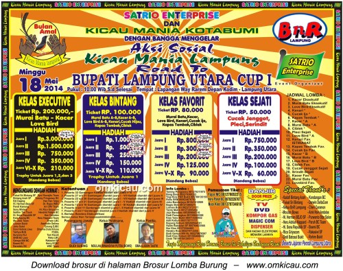 Brosur Lomba Burung Berkicau Road to Bupati Lampung Utara Cup I, 18 Mei 2014