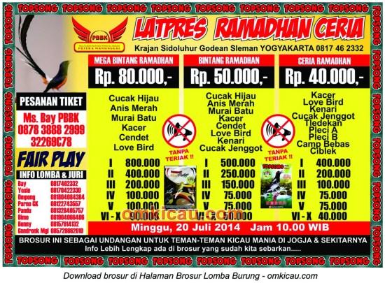 Brosur Latpres Ramadhan Ceria PBBK Krajan, Jogja, 20 Juli 2014