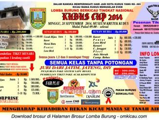 Brosur Lomba Burung Berkicau Kudus Cup 2014, 28 September 2014