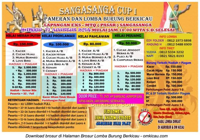 Brosur Lomba Burung Berkicau SangaSanga Cup I, Sanga-Sanga, 17 Agustus 2014